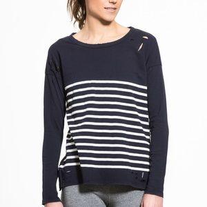 NWT Sundry Navy & White Striped Top